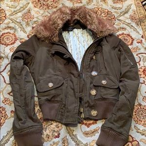 Green corduroy bomber jacket with removable fur